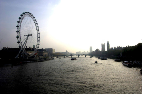 London Edit One - The Eye and Big Ben from Millennium bridge.