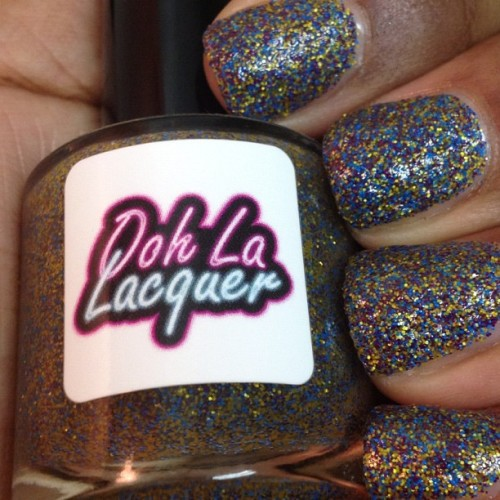 oh Ooh La Lacquer - HollaMATTE Girl. Matte purple, yellow, and neon blue glitter suspended in a clear base. 3 coats with top coat. Available in my Etsy shop.