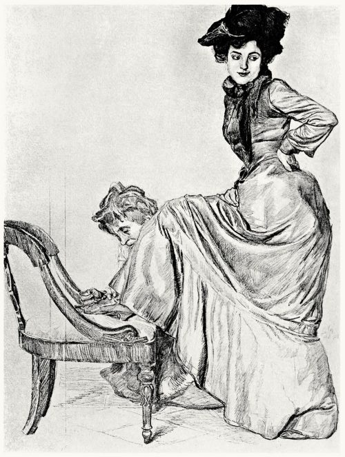 Study for the painting Atelier scene.  Otto Greiner, from Zeichnungen von Otto Greiner (Drawings of Otto Greiner), with an introduction by Hans Wolfgang Singer, Leipzig, circa 1912.  (Source: archive.org)
