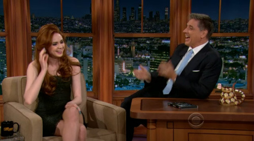 Watch a clip of Karen Gillan on yesterday's Late Late Show with Craig Ferguson. Clicky the image. Or clicky these here words.