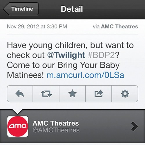 The idea of exposing a baby to Twilight makes me want to rage vomit. #twilight #amc #awful