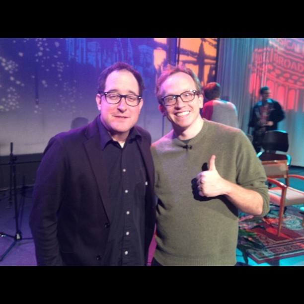 synecdoche:  heidicomestolife:  this happened! @steadycraig (craig finn) and @chrisgethard on episode #70 of the chris gethard show. katie lynch took this photo when i couldn't find my phone.  oh hey, i went to this last night.
