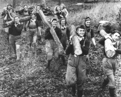 "Got A Girl Crush Obsession On: The Forgotten Lumberjills of WWII Like the many other amazing heroines of their time, the ladies of the Women's Timber Corps, aka the Lumberjills, stepped into unconventional britches in order to keep the industry, and country, moving while the men were off at war. Of course, there was also some major stereotypes being chopped down along the way:  They faced prejudice from the male forestry workers, as this was pure manual labor and they weren't expected to be tough enough. Needless to say, they proved them wrong. Their hands became calloused, they developed strong muscular arms and legs - not traits of a ""real lady"" at the time, but they relished the freedom and fresh air even if it did cause many aches and pains! I can imagine that many were unwilling or uncomfortable to return to indoor-domestic lives IF their husbands returned. For those who joined when young, or if widowed and having to start afresh, I believe it gave them a strong core confidence, and the toughness to go on alone.  Seriously, though. When someone inevitably makes a movie out of this, will someone please get a hold of me? I need to raid the wardrobe (I also can throw a mean knife).  Read more about the Lumberjills here!"