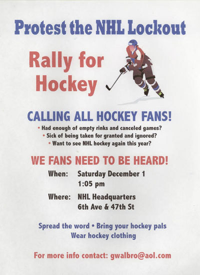 Hockey fans are organizing a protest right outside the NHL offices.
