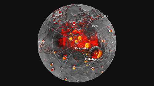 "physicsphysics:  It's Official! Water Ice Discovered on Mercury  It's time to add Mercury to the list of worlds where you can go ice-skating. Confirming decades of suspicion, a NASA spacecraft has spotted vast deposits of water ice on the planet closest to the sun. Temperatures on Mercury can reach 800 degrees Fahrenheit (427 degrees Celsius), but around the north pole, in areas permanently shielded from the sun's heat, NASA's Messenger spacecraft found a mix of frozen water and possible organic materials. Evidence of big pockets of ice is visible from a latitude of 85 degrees north up to the pole, with smaller deposits scattered as far away as 65 degrees north. The find is so enticing that NASA will direct Messenger's observation toward that area in the coming months — when the angle of the sun allows — to get a better look, said Gregory Neumann, a Messenger instrument scientist at NASA's Goddard Space Flight Center in Maryland. [Latest Mercury Photos from Messenger] ""There is an ongoing campaign, when the spacecraft permits, to look further northward,"" said Neumann, the lead author of one of three Mercury studies published online in the Nov. 29 edition of the journal Science. Researchers also believe the south pole has ice, but Messenger's orbit has not allowed them to obtain extensive measurements of that region yet. Messenger will spiral closer to the planet in 2014 and 2015 as it runs out of fuel and is perturbed by the sun's and Mercury's gravity. This will let researchers peer closer at the water ice as they figure out how much is there.  [More at Space.com]"
