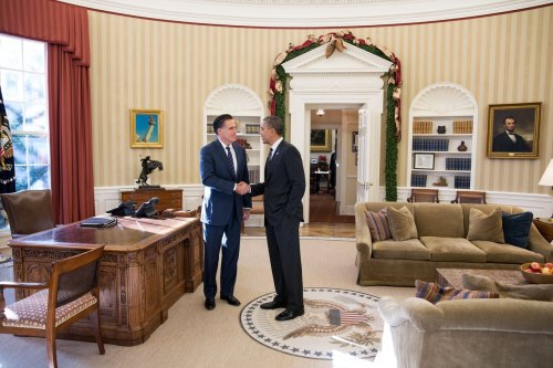 "Obama, Romney - let's 'stay in touch' (Photo: Pete Souza / The White House) President Obama and Mitt Romney met today for the first time since the president's sweeping electoral-vote reelection Thursday over lunch at the White House. Over an hour — and white turkey chili and Southwestern grilled chicken salad — the once-bitter rivals talked about ""America's leadership in the world"" and ""pledged to stay in touch,"" according to the White House. Read the complete story."
