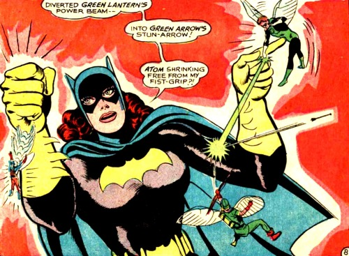 Batgirl vs. tiny JLA —Justice League of America #60 (1968) by Gardner Fox & Mike Sekowsky, inked by Sid Greene
