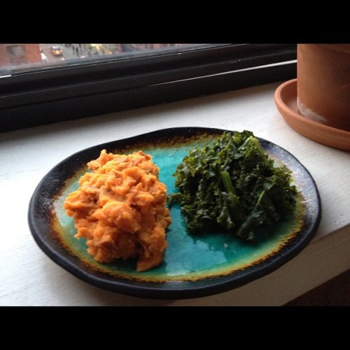 Sweet Potatoes and Steamed Kale! Yum! You'll Need 2 potatoes 2 handfuls of kale Now What Boil potatoes until tender with a fork Drain water Add 1/4 cup almond milk Add 2 table spoons maple syrup Add 1 table spoon earth balance Mash up and Enjoy! Steam kale Add fresh squeezed lemon Enjoy!