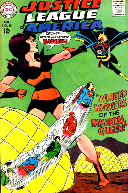 """Winged Warriors of the Immortal Queen!"" —Justice League of America #60 (1968) cover by Mike Sekowsky & Murphy Anderson"