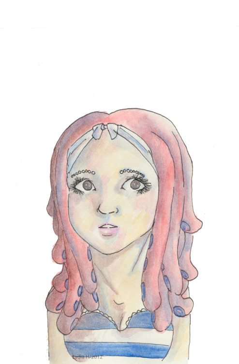 Tentacle Hair done in water colour pencils.something that i did back in September or October.. based on a photo of Marina 。◕‿◕。
