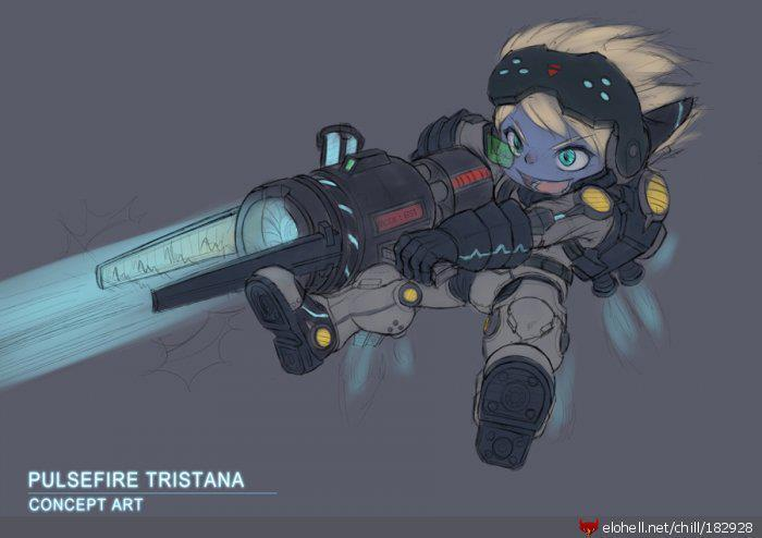 ragegirlplayinglol:  Pulsefire Tristana !! my green shinning darius  PLEASE?