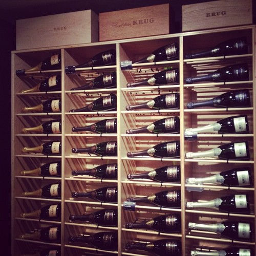A wall of @krug tonight at @sothebys. Remembering that great day there w @marcustroy and @wobentley.