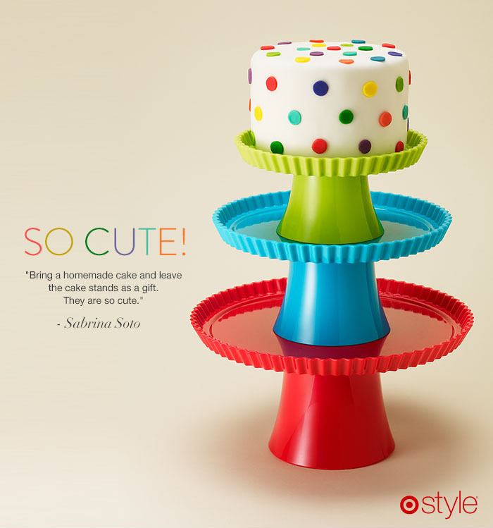 Gift Idea: Cake Stands This just may be the cutest way to say Happy Holidays. Sabrina Soto suggests baking a homemade cake, and then leaving behind the cake stands as a gift. own it now: shop cake stand set in store.
