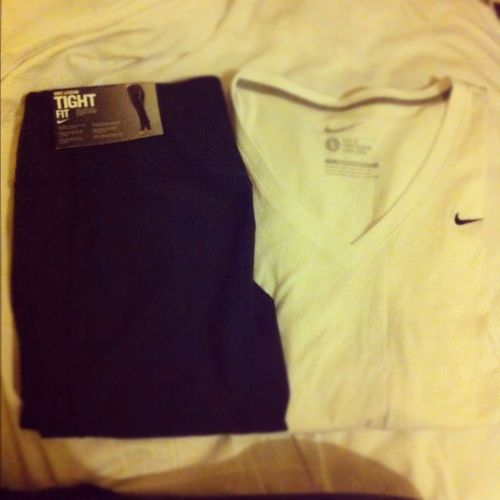 My new workout gear!Nike legend tights and Nike Dri-Fit V neck