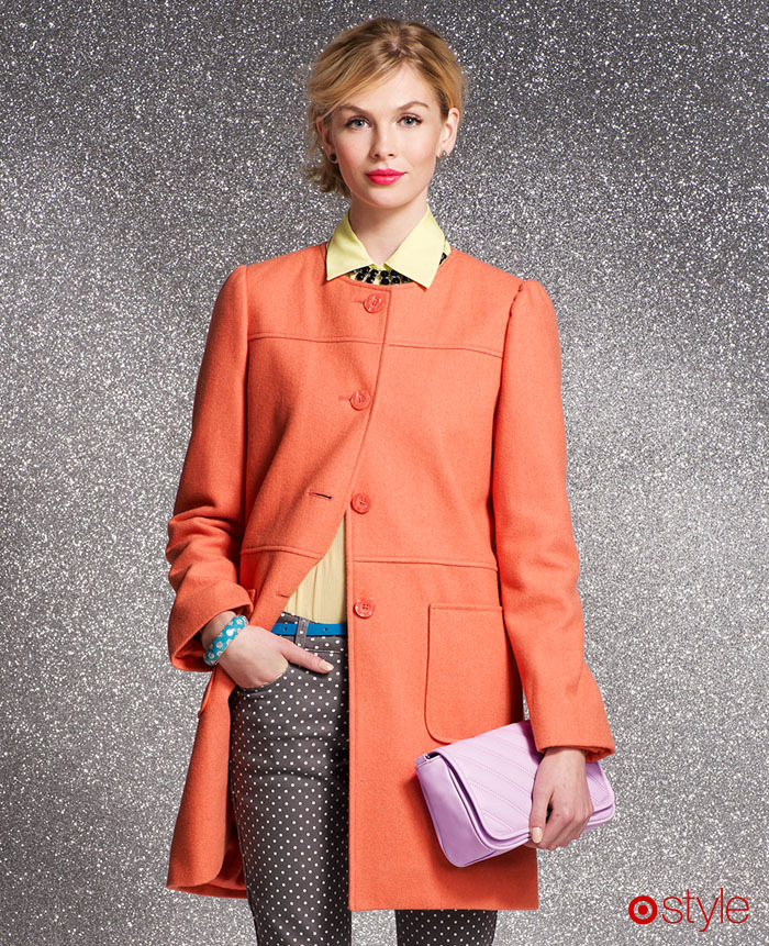 Love Alert: The Orange Coat How to pull off a bright coat in the dead of winter? With polka dot pants, obviously! own it now: polka dot pants. orange coat.