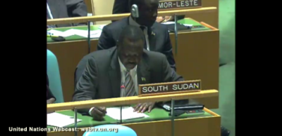 South Sudanese Ambassador to the UN speaking on Palestinian UN bid.