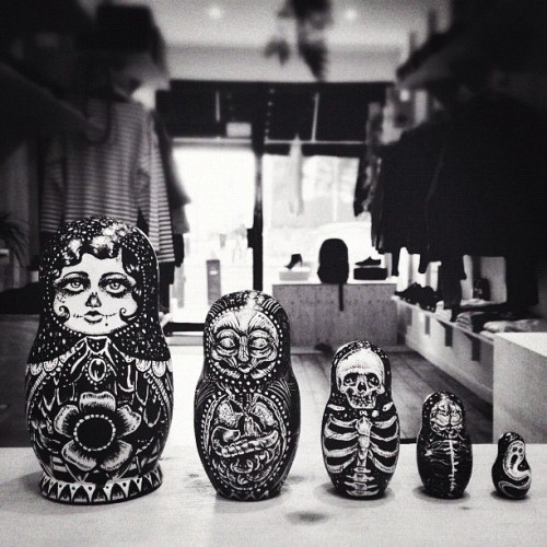 Russian dolls I designed to sell at Huh. - No-way's Christmas pop up shop. Really gutted to miss the launch tonight. #russiandoll #philipharrisillustration  #design #art #illustrator  (at 56 Stoke Newington Road Hackney England E8 2 United Kingdom)