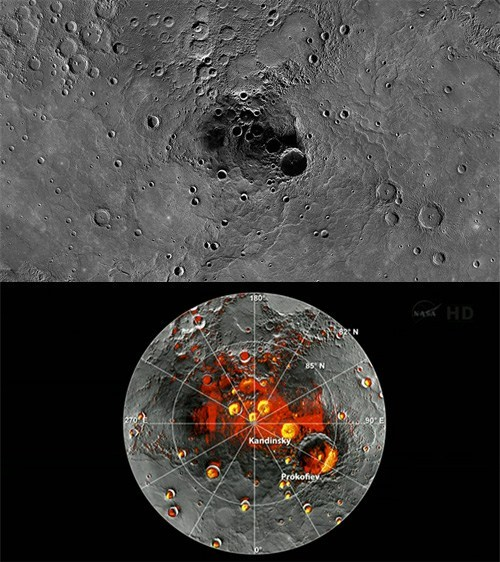 "Ice Water Found on Mercury!  NASA announced today that its Messenger spacecraft has discovered ""compelling"" evidence of frozen water and possible organic materials on Mercury's north pole (shown left in red), confirming the decades of suspicion in the scientific community. ""The neutron data indicate that Mercury's radar-bright polar deposits contain, on average, a hydrogen-rich layer more than tens of centimeters thick beneath a surficial layer 10 to 20 centimeters thick that is less rich in hydrogen,"" according to David Lawrence, a Johns Hopkins University physics scientist working on the Messenger project."