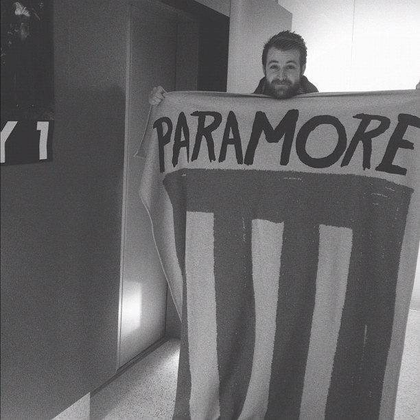 paramore:  We're finally seeing this blanket in person… SO COZY. It's on the FBR webstore if you want your own! Merry Christmas and you're welcome.