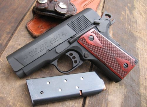 Colt New Agent A very tiny, if not cute, compact 1911. It comes in the classic .45 ACP caliber but a 9mm version is available. Capacity is 7+1 on the .45 ACP and 8+1 on the 9mm. For concealed carry and self-defense, the 9mm will be easier to handle. A lot of people find the recoil of the .45 ACP from compact 1911's to be uncomfortable.