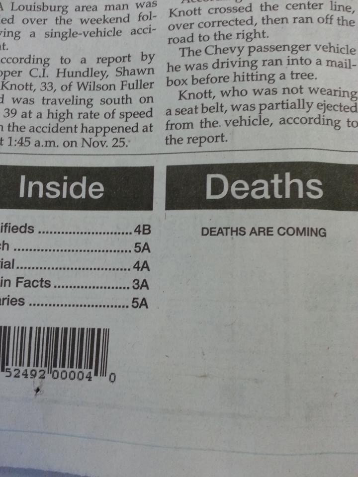 ominous newspaper placeholder text.
