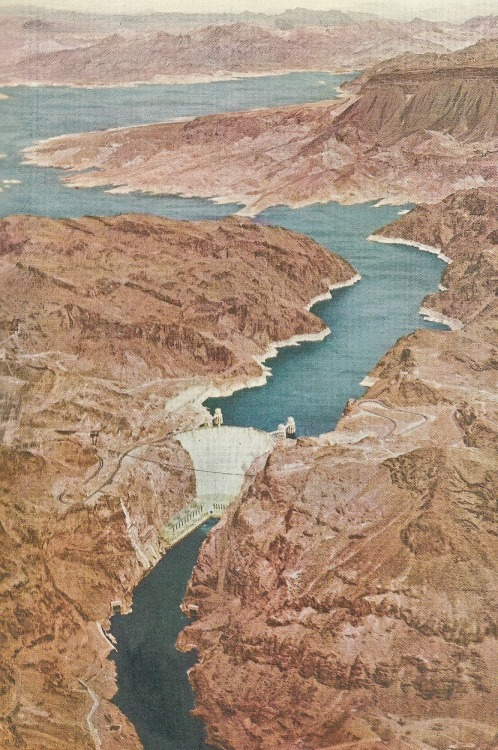 vintagenatgeographic:  Hoover Dam separating Nevada and Arizona National Geographic | June 1951