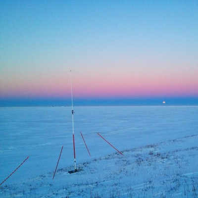 Radar receive antenna and hovering moon over the frozen Chukchi Sea #inthefield