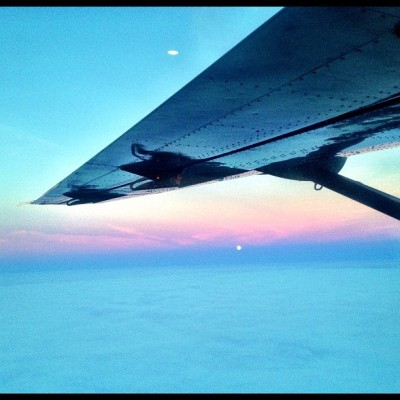 From the Cessna, moon over the Chukchi Sea #inthefield
