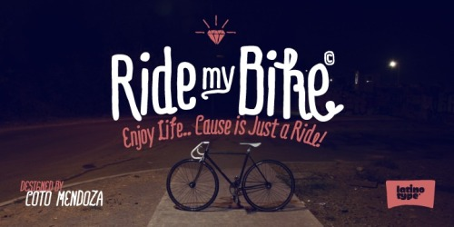 "50% Off ""Ride My Bike"" by Latinotype over @hypefortype A quirky, fun, but well-structured/balanced hand-rendered family w/ tons of character variation, whimsical ligatures and a slew of complementary dingbats. 2 weights + italics. http://bit.ly/Yvvsa6"