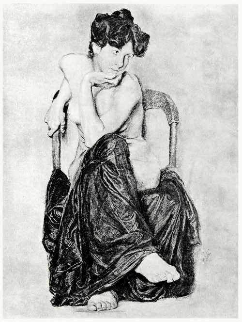 Seated woman.  Otto Greiner, from Zeichnungen von Otto Greiner (Drawings of Otto Greiner), with an introduction by Hans Wolfgang Singer, Leipzig, circa 1912.  (Source: archive.org)