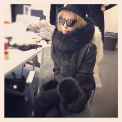 "Rachel Zoe: ""Cold weather accessories meeting, bundled in faux fur (naturally)"" [via instagram]"