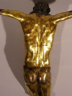Circle of Michelangelo, Back view of a fragment of a figure of Christ. Gilt bronze 1500's. Gallarus Collection.