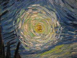 alackof-color:  (via Van Gogh Close-ups : Art) Close up of starry night by Vincent Van Gogh. WOAH