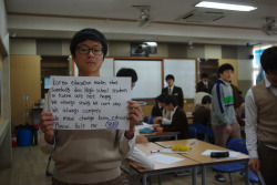 Korea education makes that somebody dies. High school students in Korea are not happy We always study. We can't sleep. We always compete. We must change Korea education Please. Help me.