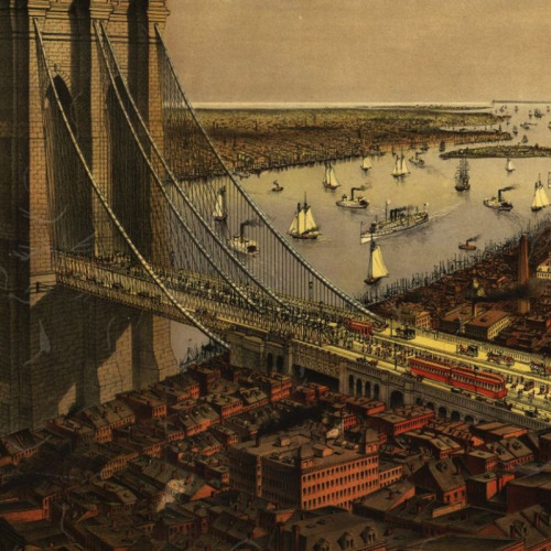 adventures-of-the-blackgang:      Brooklyn Bridge by Currier and Ives (1885), detail (Big Map Blog)