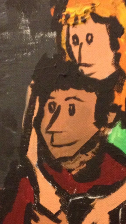 Pete Holmes painting of Kumail and Emily.
