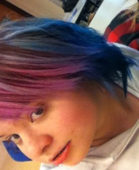 """My blue/purple hair, I love it!"" Very pretty :)"