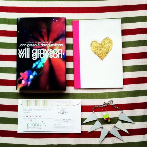 stachemagazineonline:  12 Days of Giveaways: Day 1 We're giving away: A copy of Will Grayson, Will Grayson A handpainted notebook from Stars for Dreams A handmade ring from Built To Wear A necklace from Personalized Accessories A P250 GC from Flibby's Sweets and Treats Don't forget to check back at 10PM for the question of the day! Read the full giveaway mechanics here.  You can now join the raffle for the prizes for the 12th day using the widget found in our website.    Join now! :)