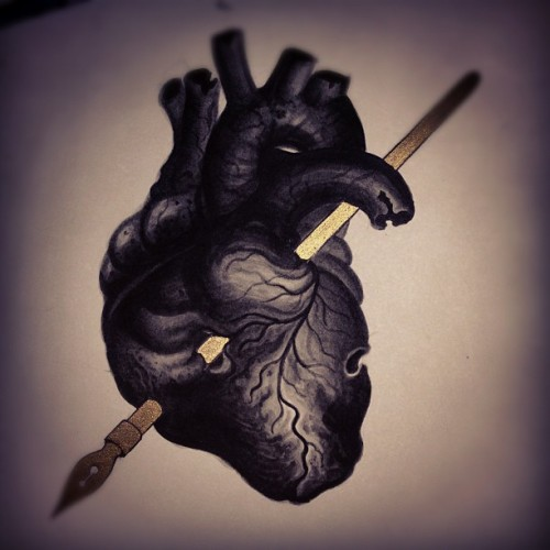 misterbeaudry:  Done! #heart #drawing #ink #gold #art #illustration (at Colonial Park Cemetery)