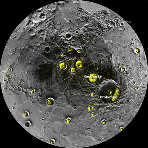 NASA spots water ice deposits on Mercury Space.com: NASA's Messenger spacecraft has spotted vast deposits of water ice on Mercury, the planet closest to the sun. Temperatures on Mercury can reach 800 degrees Fahrenheit, but around the north pole, NASA found a mix of frozen water and possible organic materials.  View more photos on Space.com. Photo shows a mosaic of MESSENGER images of Mercury's North Polar Region. All of the larger polar deposits are located on the floors or walls of impact craters. Deposits farther from the pole are seen to be concentrated on the north-facing sides of craters. (NASA/Johns Hopkins University Applied Physics Laboratory/Carnegie Institution of Washington/National Astronomy and Ionosphere Center, Arecibo Observatory)