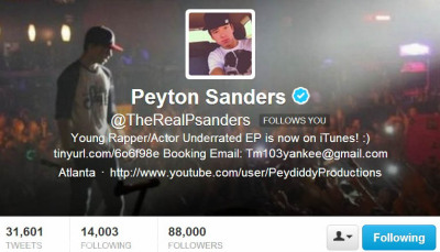 I'm really proud of @TheRealPsanders, he reached 88k tonight at 9:45 pm CST and just wow. It's incredible that exactly 1 year & 1 month ago I found out about him. He's the best thing that happened to my life. I love you Peyton, you deserve all this success you're getting. I'll rep the 21 until I die. <21