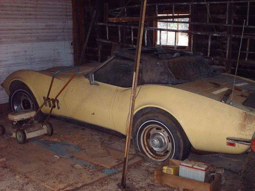 corvettes:  1968 Corvette in the barn