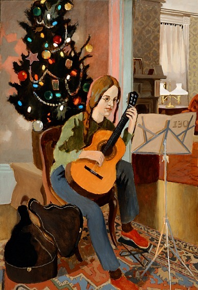 Fairfield Porter Lizzie, Guitar and Christmas Tree 1973
