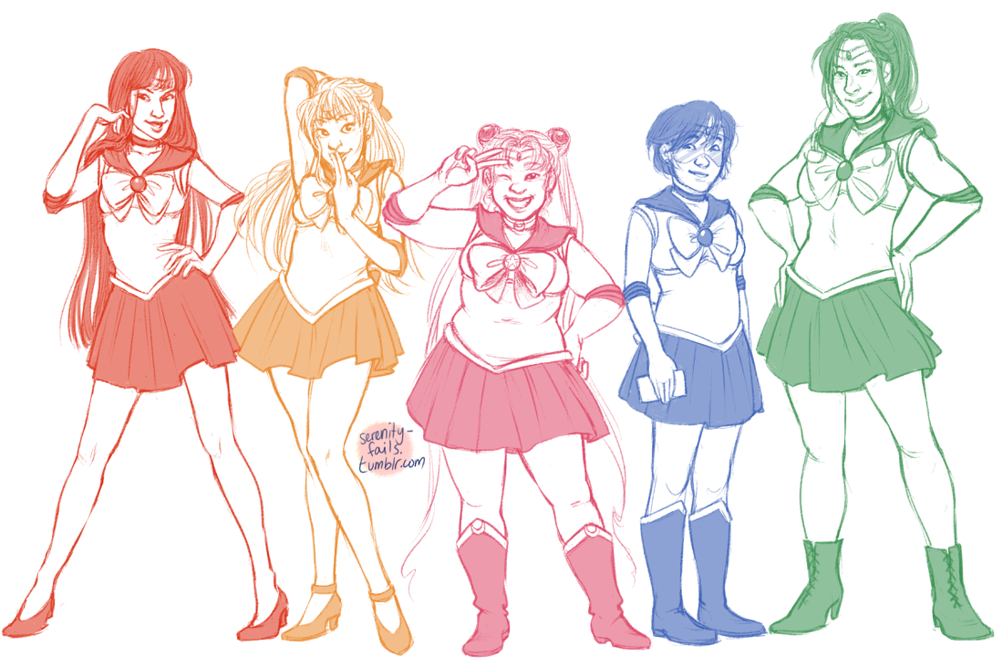 lesbiaaans:  serenity-fails:  All right, I drew some senshi! GOOD NIGHT.  aaaaaAAA EVERYBODY IS THE MOST GORGEOUSSSS katie drawing sailor moon makes me the happiest forever gosh wow