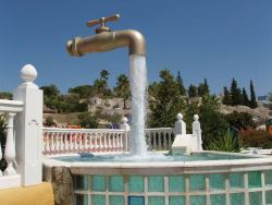 awesome-beautiful-world:  Magic Tap Located in Aqualand, Spain, this Magic Tap fountain actually has a pipe hidden in the stream of water.