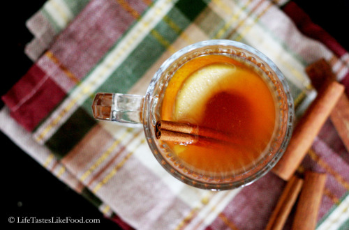 Homemade Mulled Cider with Fresh Fruit and Spiced Rum.  For the recipe, click here.