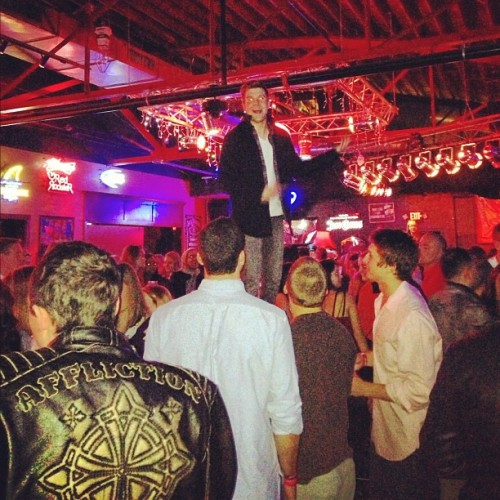 Austin is on a table.  (at Nashville, TN)