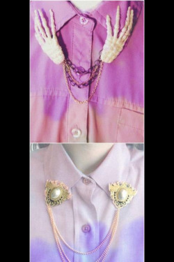 Ombré oversize dip dyed shirts with collar tip jewelry