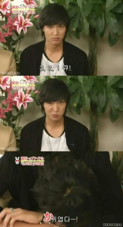 sweetblueicecream:  This is Boys over flowers Japan interview. He is asked to make funny face. After making, he just burst into laughter (3rd pic) …too shy! ^^ Cute!