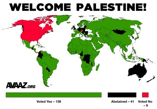 travelingcolors:  WELCOME PALESTINE The United Nations has voted overwhelmingly to recognize a Palestinian state. In an extraordinary lineup of international support, more than two-thirds of the world body's 193 member states approved the resolution upgrading the Palestinians' status from an observer to a nonmember observer state on Thursday. It passed 138-9, with 41 abstentions. The vote was a victory decades in the making for the Palestinians after years of occupation and war. It was a sharp rebuke for Israel and the United States.[Read more: Theguardian.co.uk]